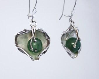 Silver costume jewelry, 925 sterling silver earrings with green agate, green stone earrings, designer earrings .