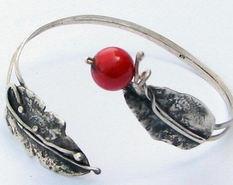 925 Sterling silver bangle bracelet with red coral .