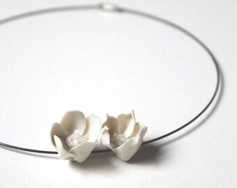 2 little flowers porcelain necklace - stiff wire necklace-  Limoges porcelain
