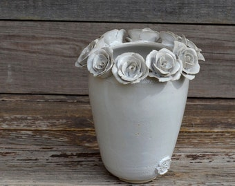 Tall stoneware vase in white with roses-  Handmade Ceramics  - Stoneware -