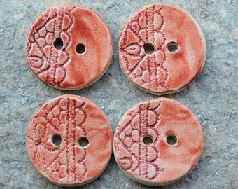 4 Stoneware buttons with lace design in red cyclamen - 4 cm diam