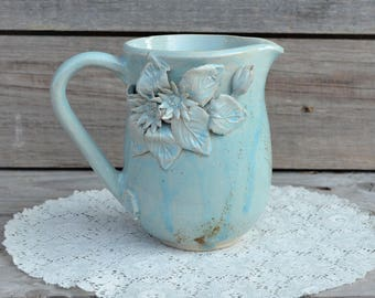 "Blue Milk pitcher ""Daisy"" without dots - Stoneware"