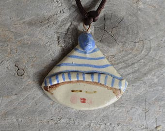 Little boy with light blue stripes hat - Stoneware
