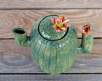 Ceramic  Cactus Teapot  with flowers - design 2 -  Stoneware (grès) Teapot