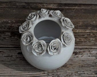 Stoneware white Vase with roses -  Wheel thrown - Stoneware Vase