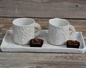 2 Stoneware rustic laced coffe cups  on a rectangular tray - set of 2- Rustic cream with impression of a romantic vintage lace