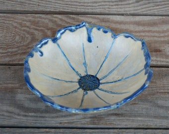 Flower Bowl in  white and blue - Stoneware Bowl