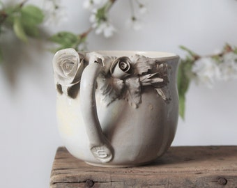 Alice Stoneware Tea Cup with roses Handmade Ceramics  ivory - no dots - design 1