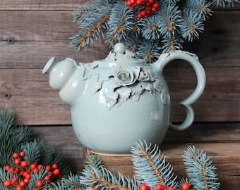 Alice in Wonderland Teapot - MADE TO ORDER - Stoneware teapot with roses in light blue granitic glaze