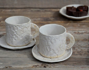 Stoneware rustic laced coffe cups  - set of 2- Rustic cream with impression of a romantic vintage lace