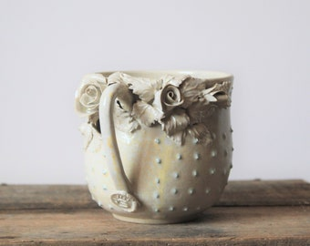 Alice Stoneware Tea Cup with roses and blu dots in  ivory - Handmade Ceramics -design 1