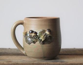 Stoneware Tea Cup  with boletus