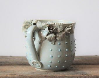 Stoneware Tea Cup  with roses Handmade Ceramics  and blue dots in relief -  Stoneware  - light blue - mug