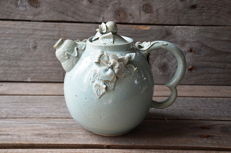 Stoneware teapot with daisies in light blue granitic glaze MADE TO ORDER Pansy Teapot