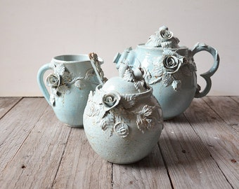"""Set """"Alice in wonderland"""" Teapot, creamer, sugar bowl and little teaspoon- MADE TO ORDER -  Stoneware with roses in light blue glaze"""