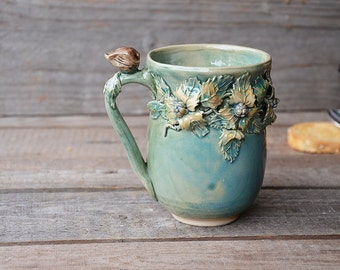 "Stoneware Tea Cup ""Nightingale"" -  MADE TO ORDER - Handmade Stoneware Ceramics - green - mug"