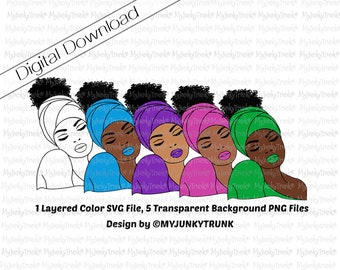 Black Woman SVG PNG Natural Hair Art African American Woman Art Black Girl Magic Head Wrap Layered Vector Cut File- Aleeya