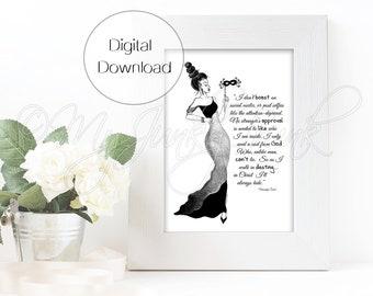 "INSTANT DOWNLOAD ""Hidden""- Black Woman Art Fashion Illustration Black & White Art Print"