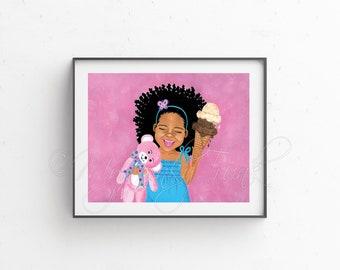 Black Girl Art/ Baby Nursery Art Afro Art African American Natural Hair Art Children's Art - Happy