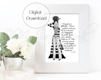 "INSTANT DOWNLOAD ""Artsy""- Black Woman Art Fashion Illustration Black & White Art Print"