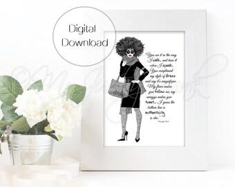 "INSTANT DOWNLOAD ""Chic""- Black Woman Art Fashion Illustration Black & White Art Print"