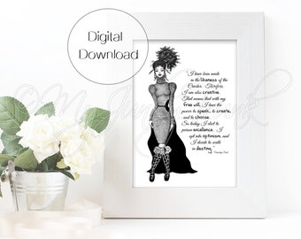 "INSTANT DOWNLOAD ""Creative""- Black Woman Art Fashion Illustration Black & White Art Print"