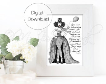"INSTANT DOWNLOAD ""Victorious""- Black Woman Art Fashion Illustration Black & White Art Print"