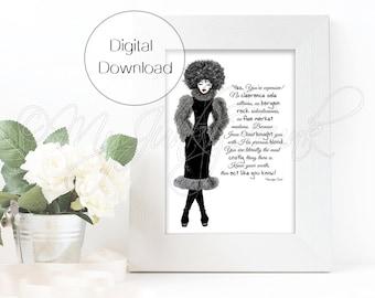 "INSTANT DOWNLOAD ""Expensive""- Black Woman Art Fashion Illustration Black & White Art Print"