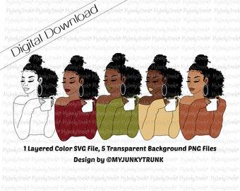 Black Woman SVG PNG Coffee Mug Natural Hair Art African American Woman Art Layered VectorCut File- Janina