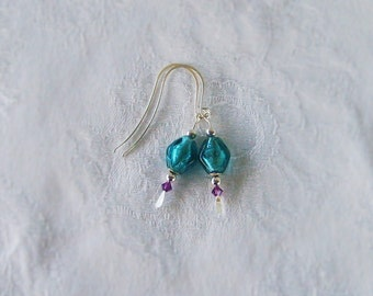 Shiny Glass Teal Earrings with Purple Swarovski Crystals