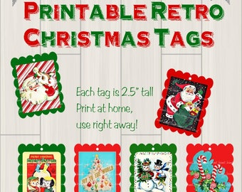 Christmas Gift Tags, Instant Download Printable Tags, Vintage Digital Download Christmas, Santa Deer Snowman Tags, JPG Christmas Gift Tags
