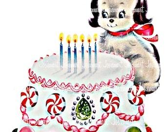 Puppy Birthday Image Digital - Vintage Digital Download - Birthday Cake Dog Image -  Vintage Image Large PNG - Retro Birthday - Cute Puppy