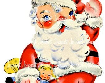 Santa Retro Digital - Christmas Digital - Vintage Digital Download - VIntage Santa Christmas Image -  Vintage Image Greeting Large JPG PNG