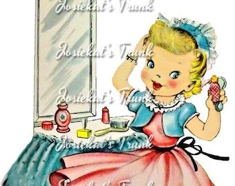 Girl at Vanity - Dressing Table - Vintage Digital Download Girl Blond Vanity - Image Collage Large JPG PNG Clipart - Vintage Card Make-up