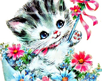Kitty Clipart Retro - Image Digital Cat- Vintage Digital Download - Kitten Umbrella -  Vintage Image Large PNG JPG -  Greeting Cat Daisy