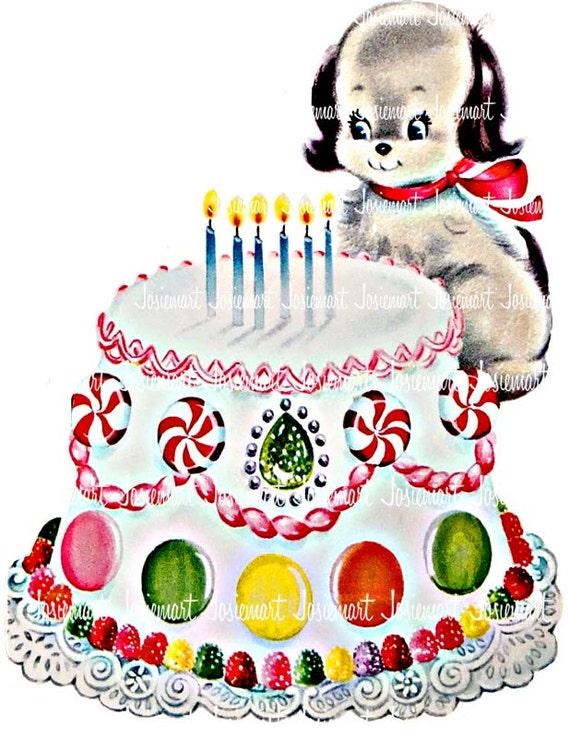 Peachy Puppy Birthday Image Digital Vintage Digital Download Etsy Funny Birthday Cards Online Necthendildamsfinfo