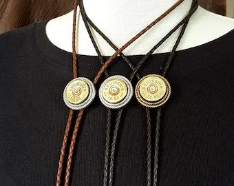Bolo Tie - Men's Accessories - Western Wear - BEST SELLER - Shotgun Casing Bolo Tie - Men / Women's Leather Bolo Tie - Brass or Silver