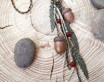 Acorn Necklace - Fall - Nature - Long Length Leaf, Genuine Preserved Acorns & Carnelian Tassel Style Necklace - Rustic, Autumn Style