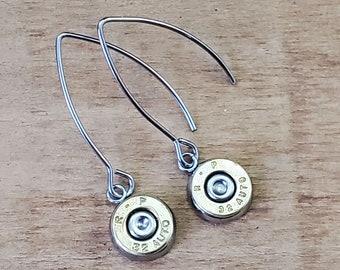 Bullet Jewelry - Bullet Earrings - Gumdrop Earrings - Petite Bullet Casing Kidney Wire Dangles - Super Light, Darn Cute - BEST SELLER