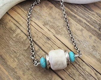 Genuine Antler Bead, Turquoise and Bullet Flanked Tube Bead Pendant Necklace - Antler Jewelry - Huntress - Bullet Jewelry - SureShot Jewelry