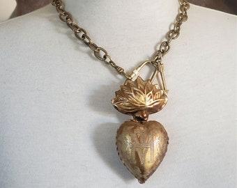 Milagro Heart - Heart Locket Box Antique Gold Statement Necklace - Sacred Heart - Prayer Box Ex Voto Chunky Gold Necklace
