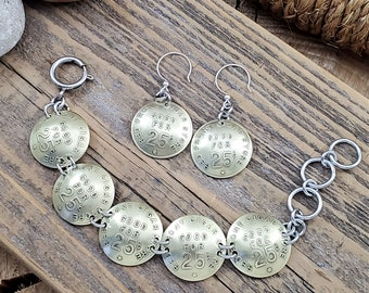 Coin Jewelry - Jewelry Set - Vintage Red Front Cigar Store Brass Token Link Bracelet &  Earrings - Coin Necklace - Coin Earrings - Gift Sets