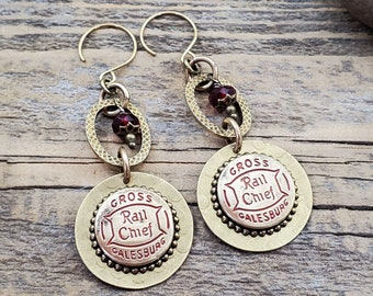 Brass Ruby Beaded Repurposed Vintage Overall Button Dangle Earrings - July Birthday - Galesburg, Illinois - Rail Chief Work Clothes