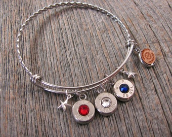c79f45627 Bullet Jewelry - Patriotic Jewelry - Bangle Bracelets - Stainless Steel  Wire Bullet Bracelet - Memorial Day, 4th of July, Second Amendment