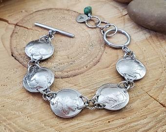 Coin Jewelry - Buffalo Nickel Coin Bracelet - Indian Head Nickel Bracelet - Southwest - Western  Boho