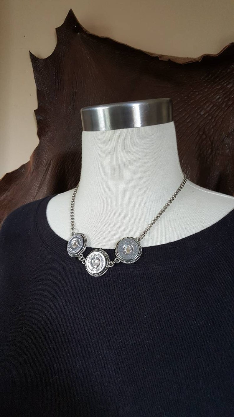Bullet Jewelry  Shotshell Necklace  Triple 20 Gauge Silver image 0