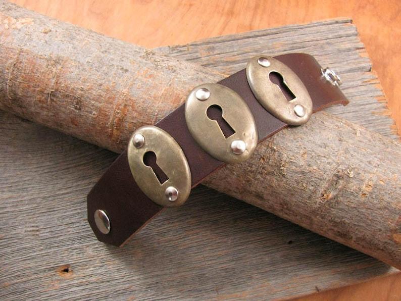 SPECIAL 20/% OFF Repurposed Door Hardware Boho Style Leather Cuff Bracelet Triple Vintage Keyhole Escutcheon Brown Cuff Bracelet