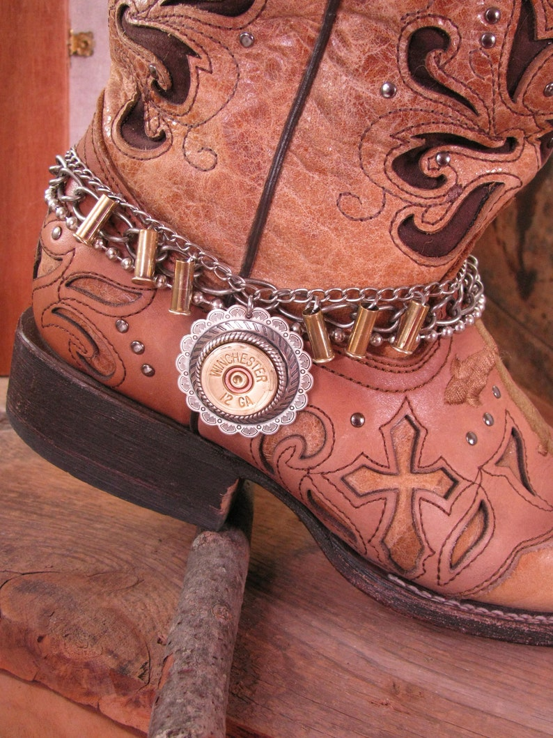 ab1474c7cd7db Boot Jewelry - Ladies Boot Accessories - Boot Candy - Bullet Jewelry - 12  Gauge Shotgun Casing Concho Medallion Multi-Chain Boot Bracelet
