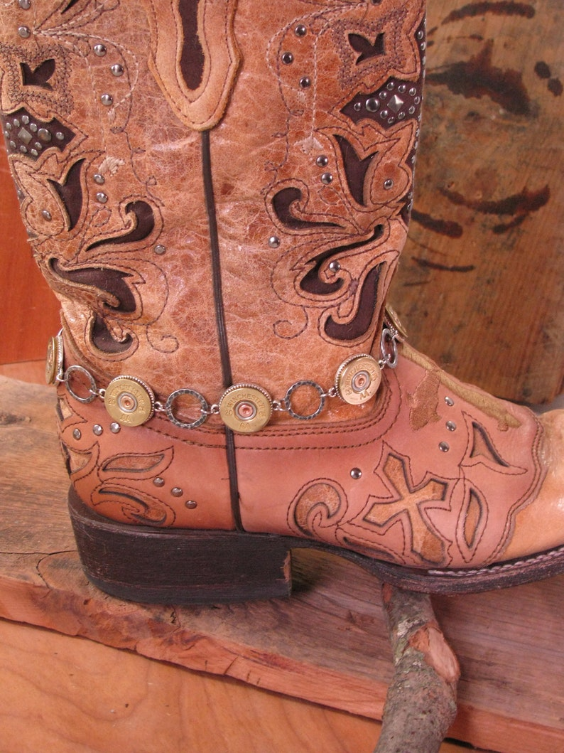 473453ac2c788 Boot Jewelry- Ladies Boot Accessories - Boot Candy - Bullet Jewelry - 20  Gauge Shotgun Casing Silver Boot Bracelet - Boot Bling