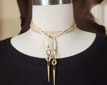 Bullet Jewelry - Leather Choker - MULTI-WRAP Brass Bullet and Spike CHOKER - Boho Style Buff Deerskin Leather Choker Necklace